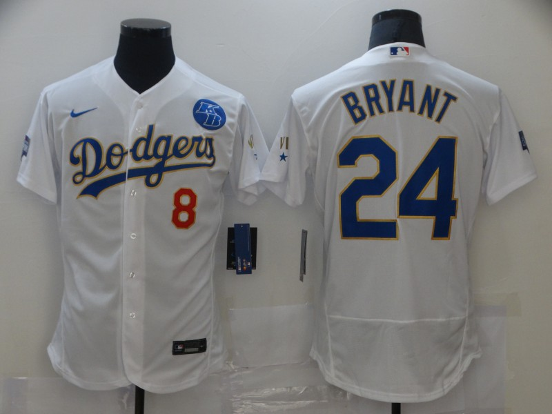 Dodgers 8 Kobe Bryant White Nike 2021 Gold Program KB Flexbase Jersey