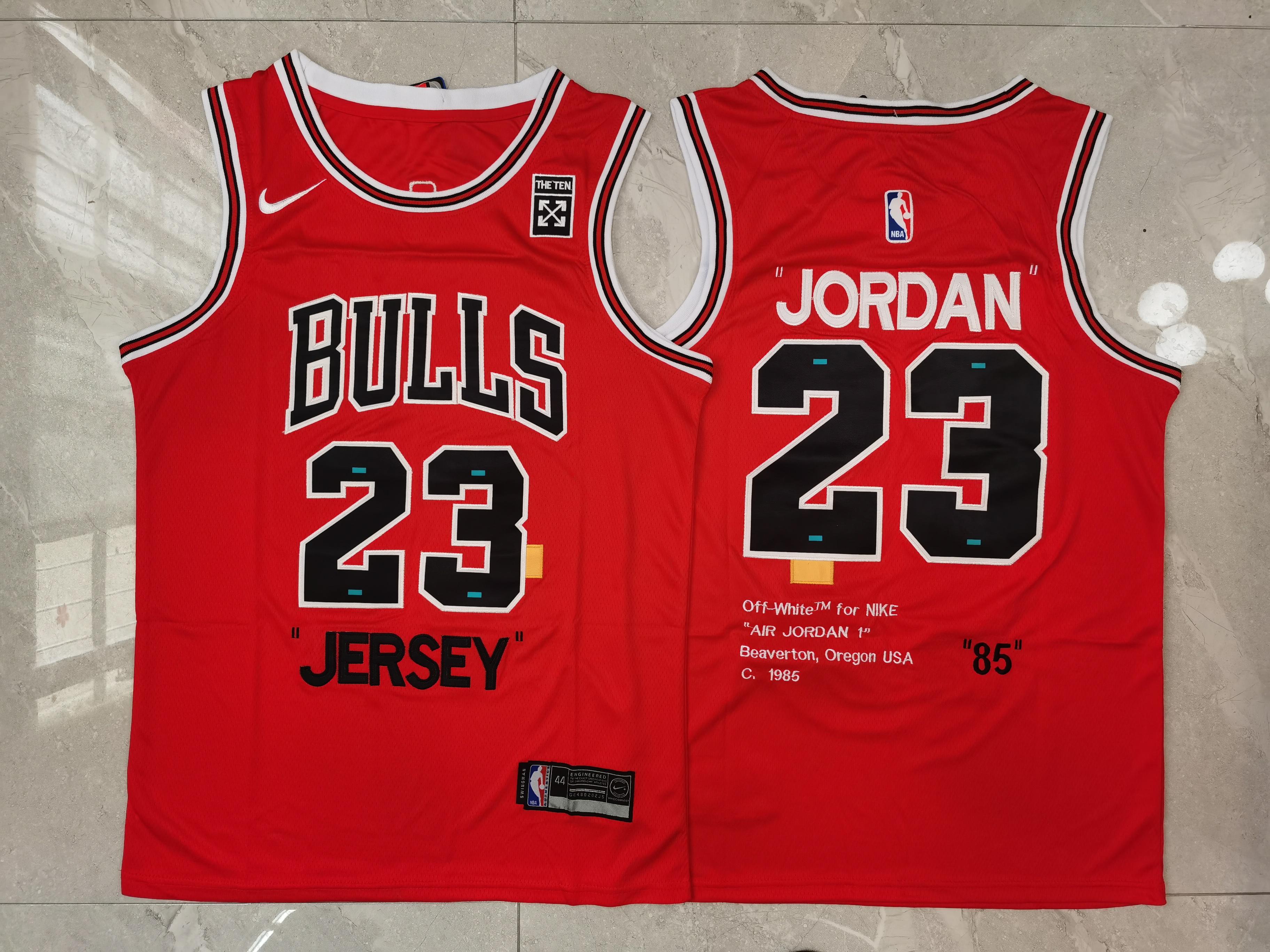 "Bulls 23 Michael Jordan Red Nike ""85"" Swingman Jersey"