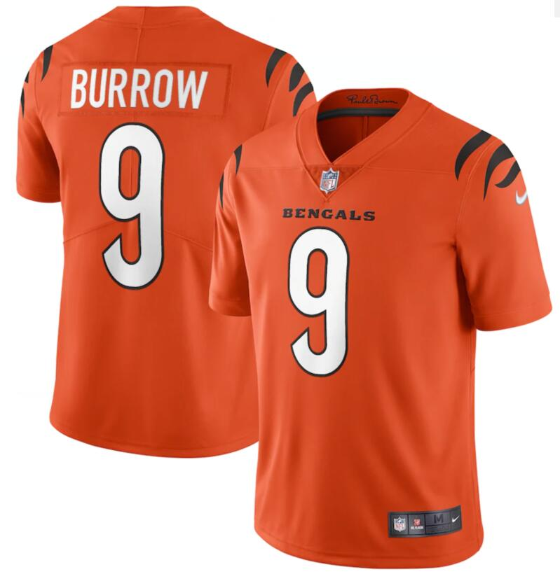 Nike Bengals 9 Joe Burrow Orange Vapor Limited Jersey