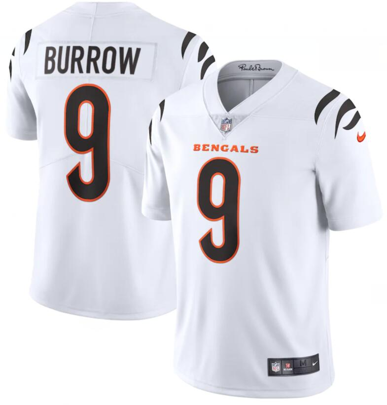 Nike Bengals 9 Joe Burrow White Vapor Limited Jersey