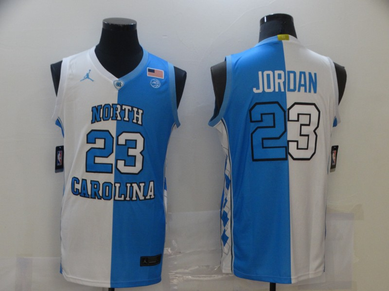 North Carolina Tar Heels 23 Michael Jordan Black And White Split College Basketball Jersey