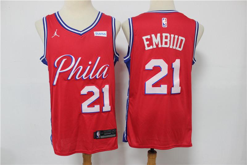 76ers 21 Joel Embiid Red Jordan Brand Swingman Jersey