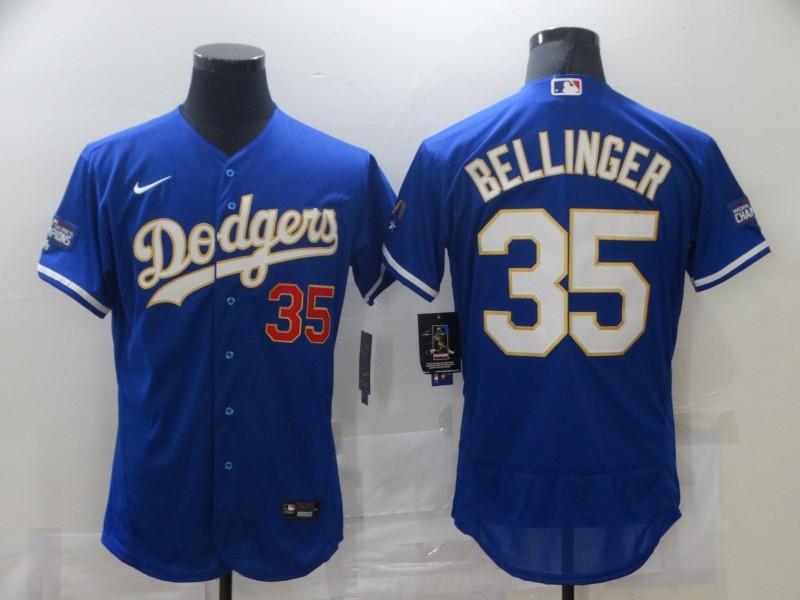 Dodgers 35 Cody Bellinger Royal Nike 2021 Gold Program Flexbase Jersey