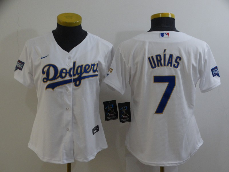 Dodgers 7 Julio Urias White Women Nike 2021 Gold Program Cool Base Jersey