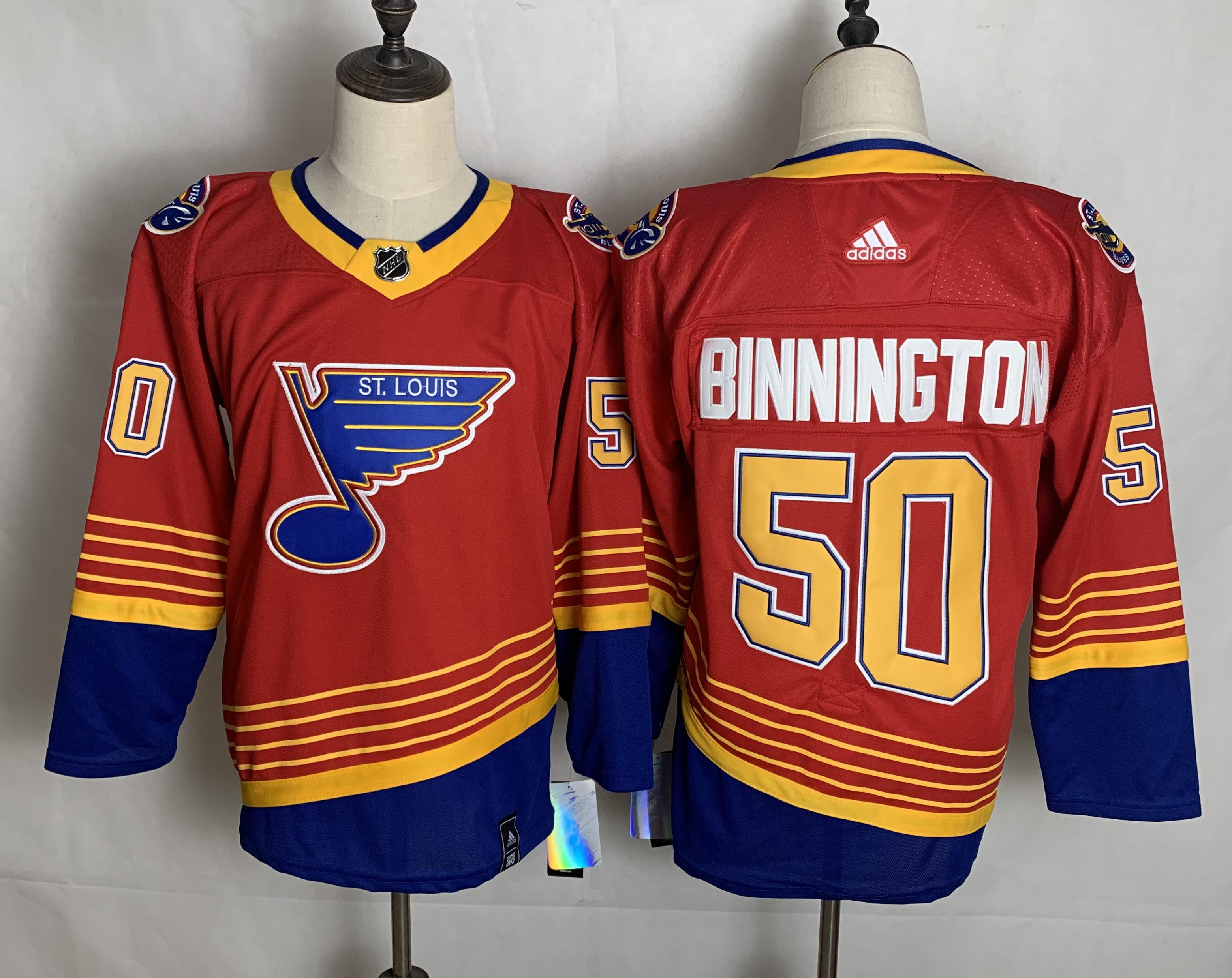 Blues 50 Jordan Binnington Red 2020-21 Reverse Retro Adidas Jersey