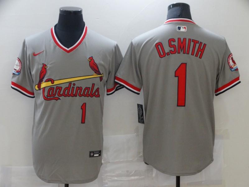 Cardinals 1 O.Smith Gray Nike Throwback Jersey