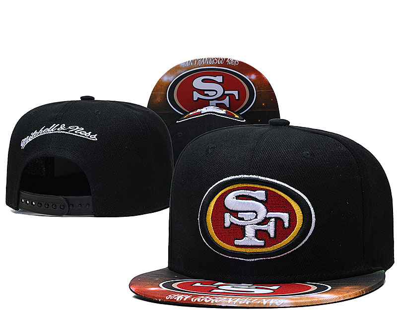49ers Team Logo Black Mitchell & Ness Adjustable Hat LH