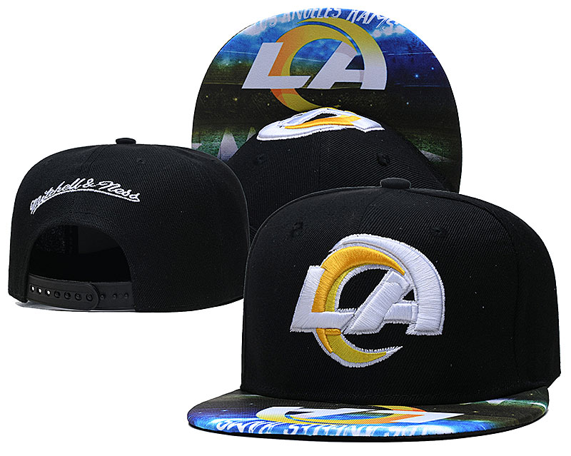 Rams Team Logo Black Mitchell & Ness Adjustable Hat LH