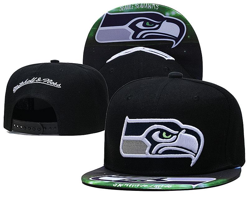 Seahawks Team Logo Black Mitchell & Ness Adjustable Hat LH