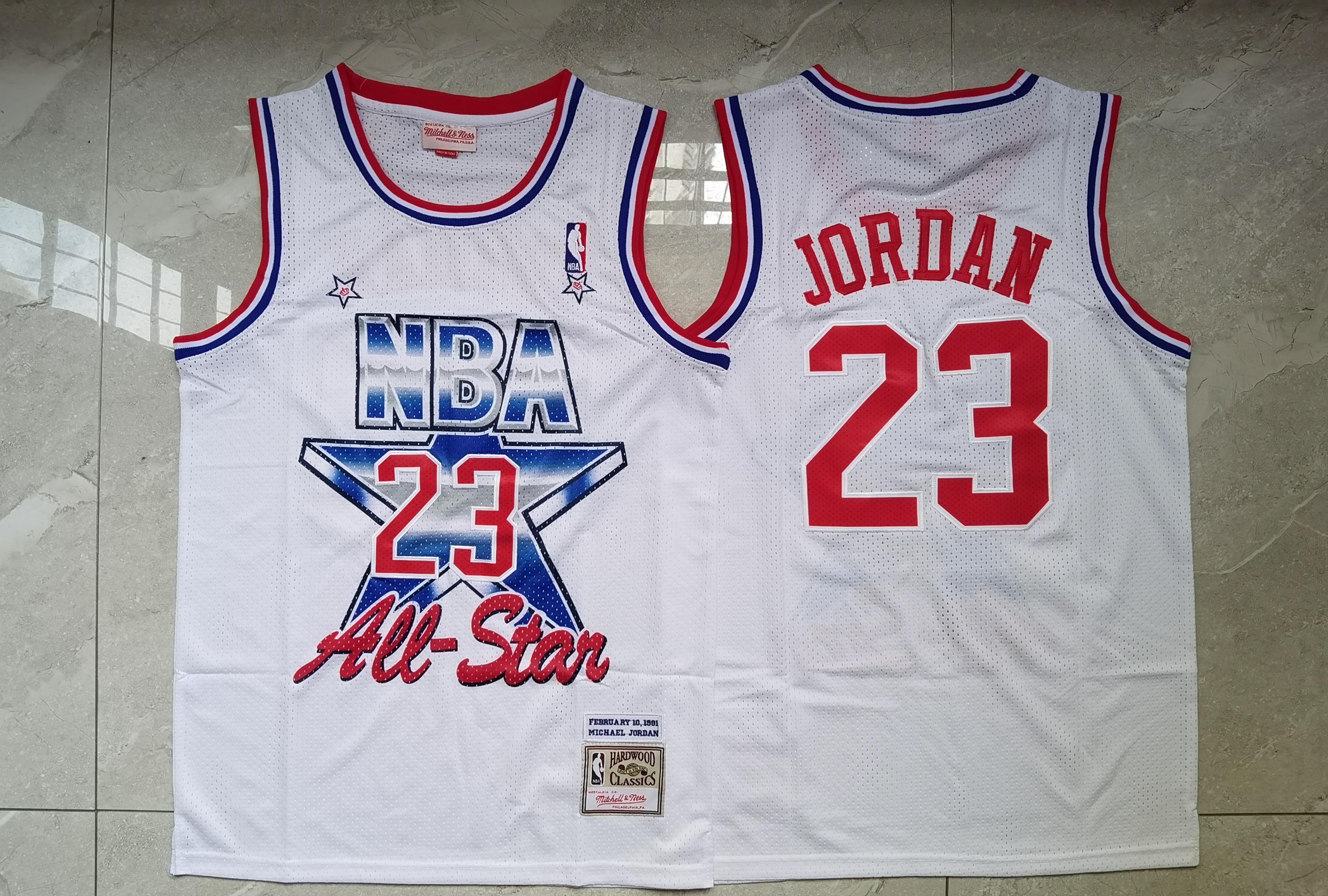 Bulls 23 Michael Jordan White 1991 All-Star White Hardwood Classics Jersey