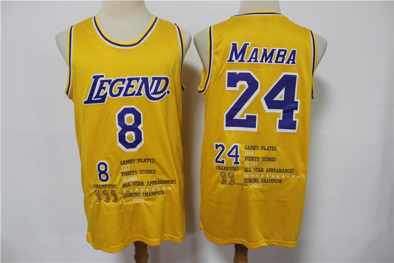 Lakers 8 &24 Kobe Bryant Yellow Nike Mamba Swingman Fashion Jersey