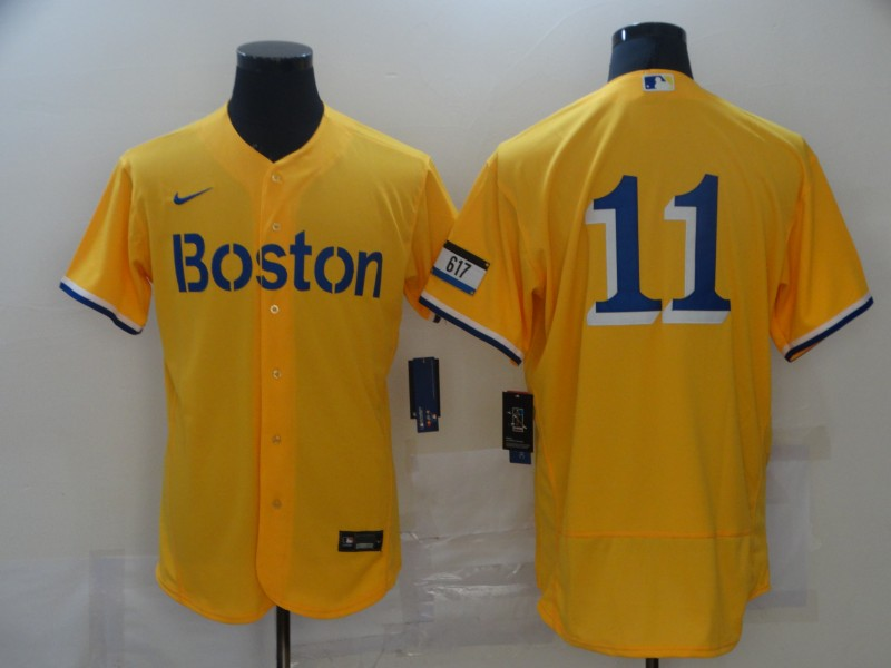 Red Sox 11 Rafael Devers Gold Nike 2021 City Connect Replica Player Flexbase Jersey