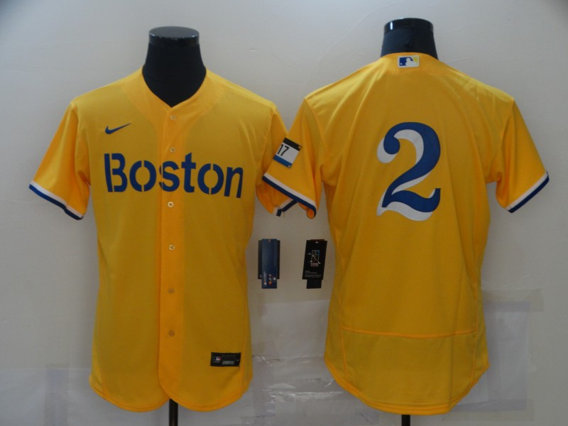Red Sox 2 Xander Bogaerts Gold Nike 2021 City Connect Replica Player Flexbase Jersey