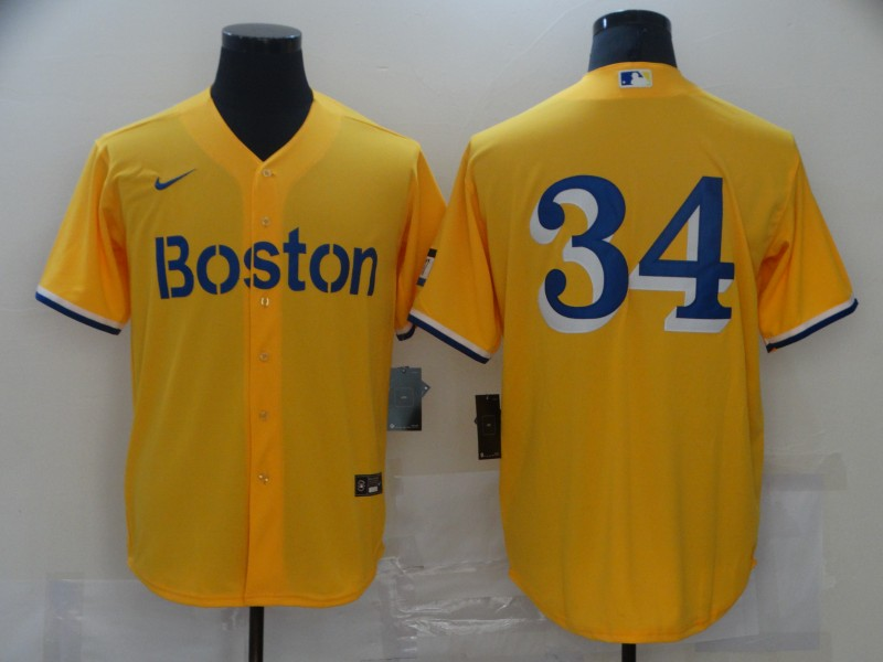 Red Sox 34 Gold Nike 2021 City Connect Replica Player Cool Base Jersey