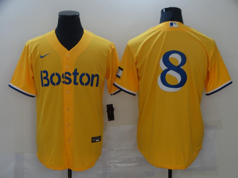 Red Sox 8 Gold Nike 2021 City Connect Replica Player Cool Base Jersey