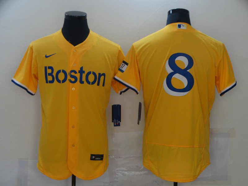 Red Sox 8 Gold Nike 2021 City Connect Replica Player Flexbase Jersey