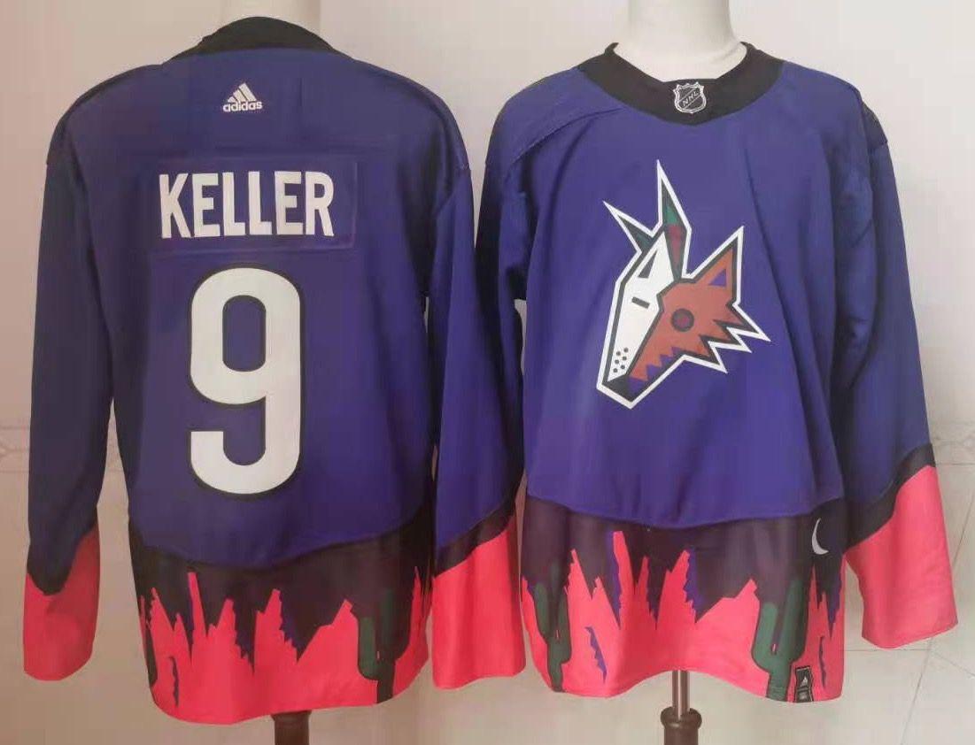 Coyotes 9 Clayton Keller Purple 2020 21 Reverse Retro Adidas Jersey