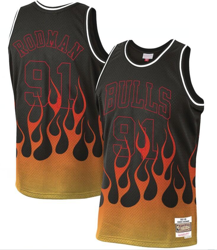 Bulls 91 Dennis Rodman Black 1997-98 Hardwood Classics Flames Swingman Jersey