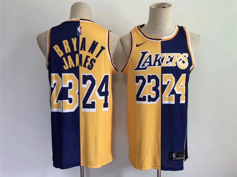 Lakers 23 & 24 Bryant & James Yellow Purple Split Swingman Jersey
