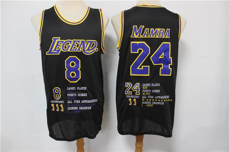 Lakers 8 &24 Kobe Bryant Black Nike Mamba Swingman Fashion Jersey