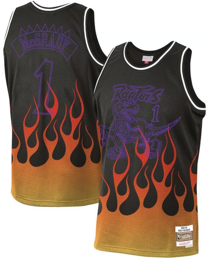 Raptors 1 Tracy McGrady Black 1998-99 Hardwood Classics Flames Swingman Jersey