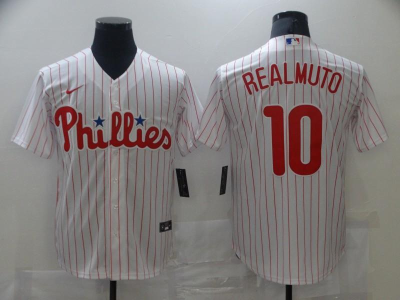 Phillies 10 J.T. Realmuto White Nike Cool Base Jersey