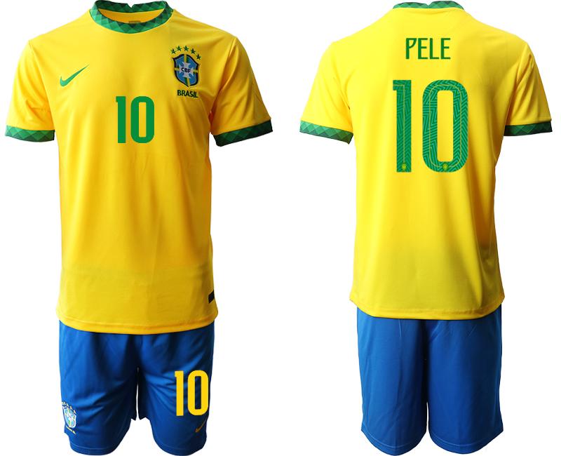 2020-21 Brazil 10 PELE Home Soccer Jersey