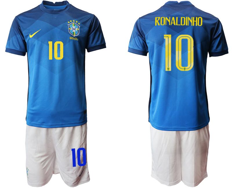 2020-21 Brazil 10 RONALDINHO Away Soccer Jersey