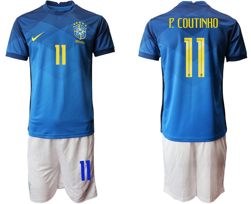 2020-21 Brazil 11 P.COUTINHO Away Soccer Jersey
