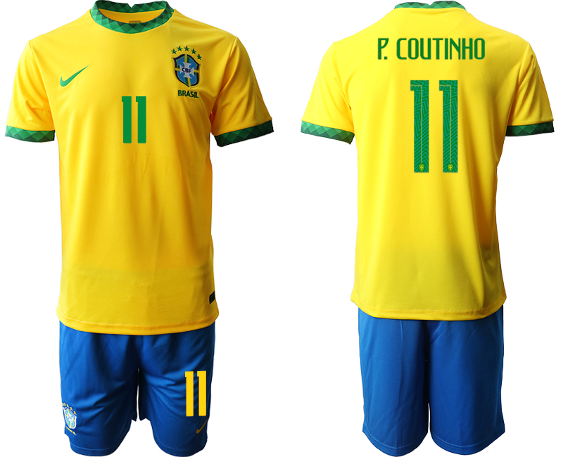 2020-21 Brazil 11 P.COUTINHO Home Soccer Jersey