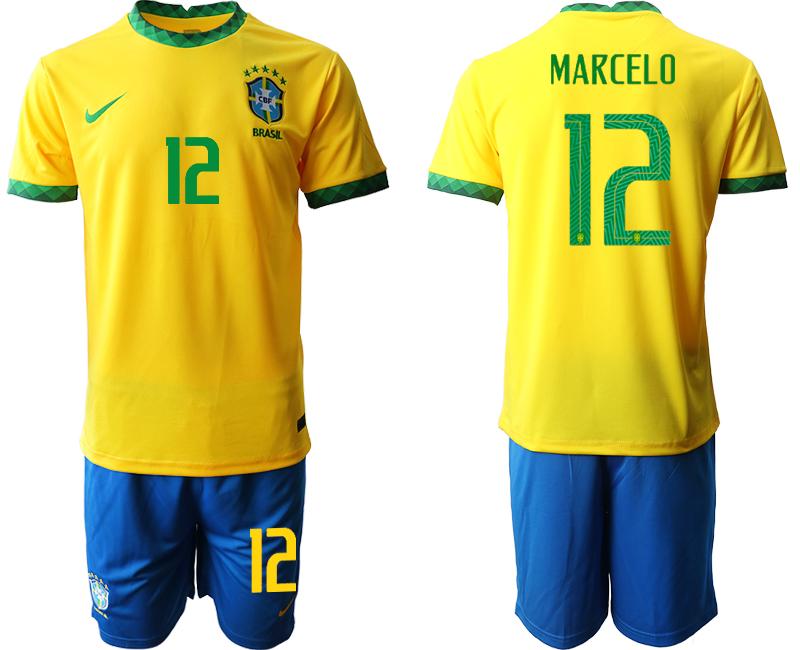 2020-21 Brazil 12 MARCELO Home Soccer Jersey