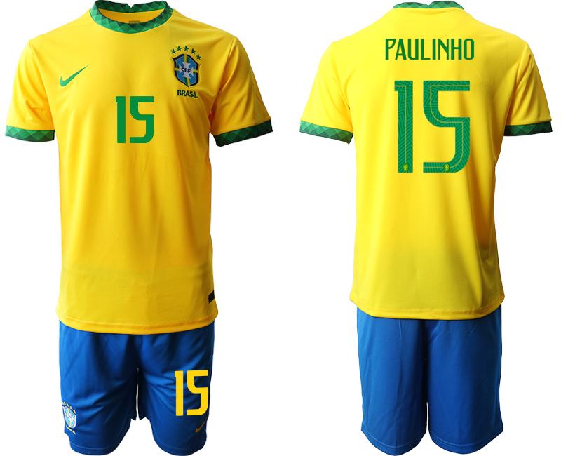 2020-21 Brazil 15 PAULINHO Home Soccer Jersey