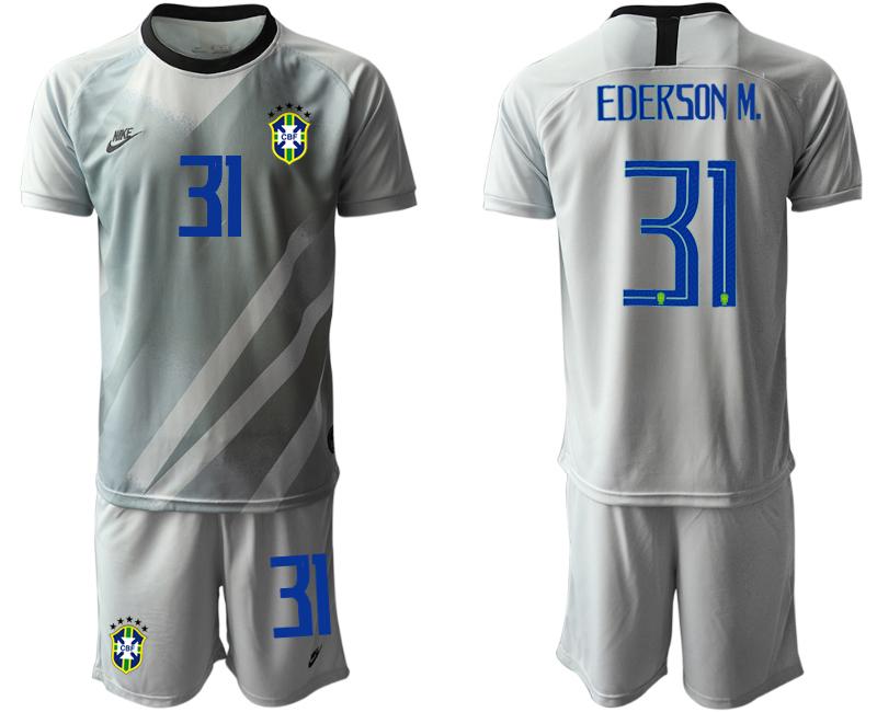 2020-21 Brazil 31 EDERSON M. Gray Goalkeeper Soccer Jersey