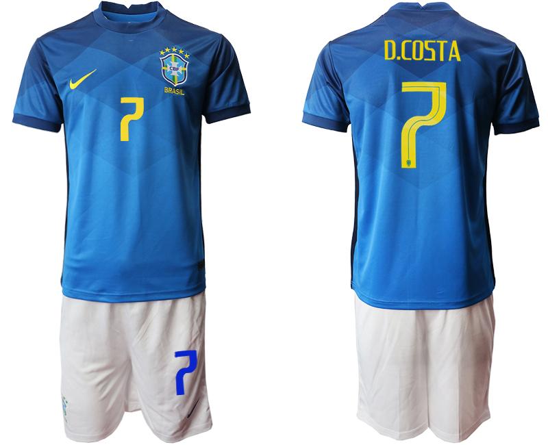 2020-21 Brazil 7 D.COSTA Away Soccer Jersey