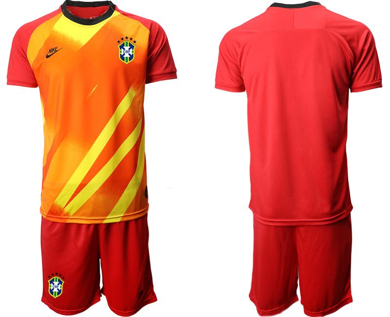 2020-21 Brazil Red Goalkeeper Soccer Jersey