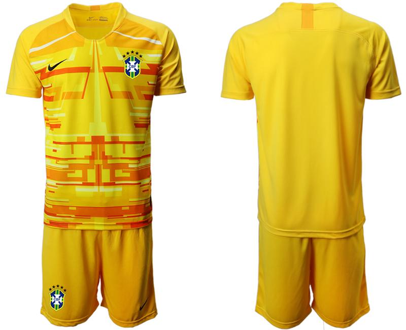 2020-21 Brazil Yellow Goalkeeper Soccer Jersey