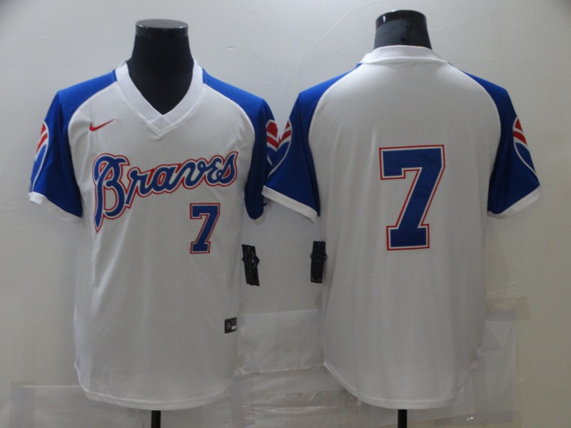 Braves 7 Dansby Swanson White Nike Turn Back the Clock Jersey