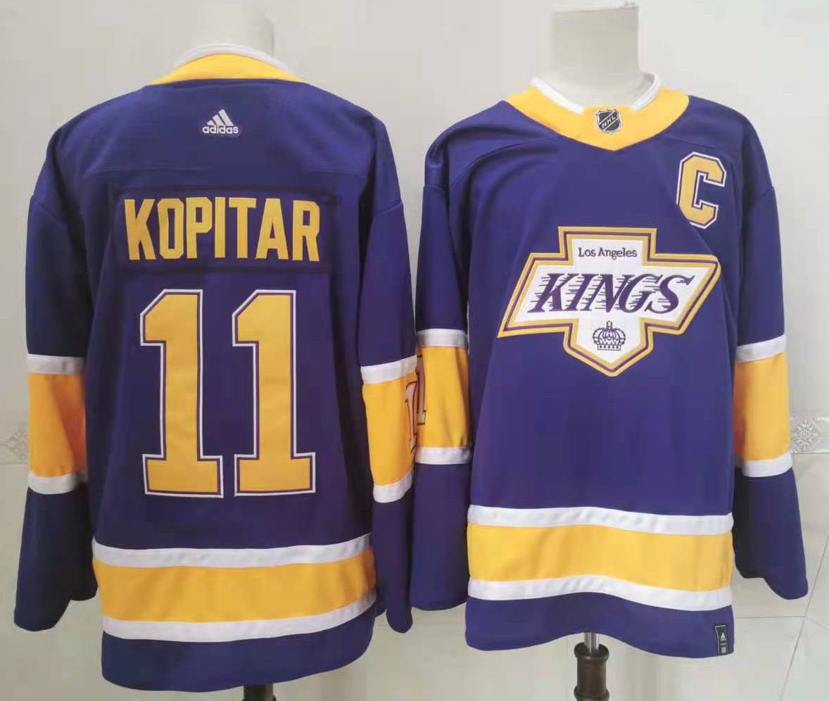 Kings 11 Anze Kopitar Purple 2020-21 Reverse Retro Adidas Jersey