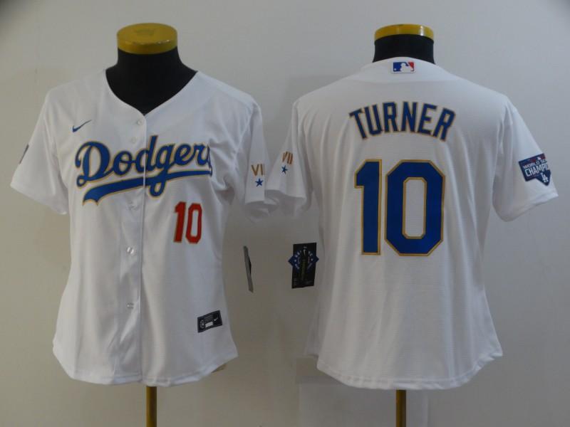 Dodgers 10 Justin Turner White Women Nike 2021 Gold Program Cool Base Jersey