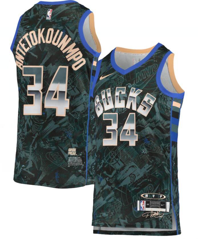Bucks 34 Giannis Antetokounmpo Green Nike Select Series MVP Swingman Jersey