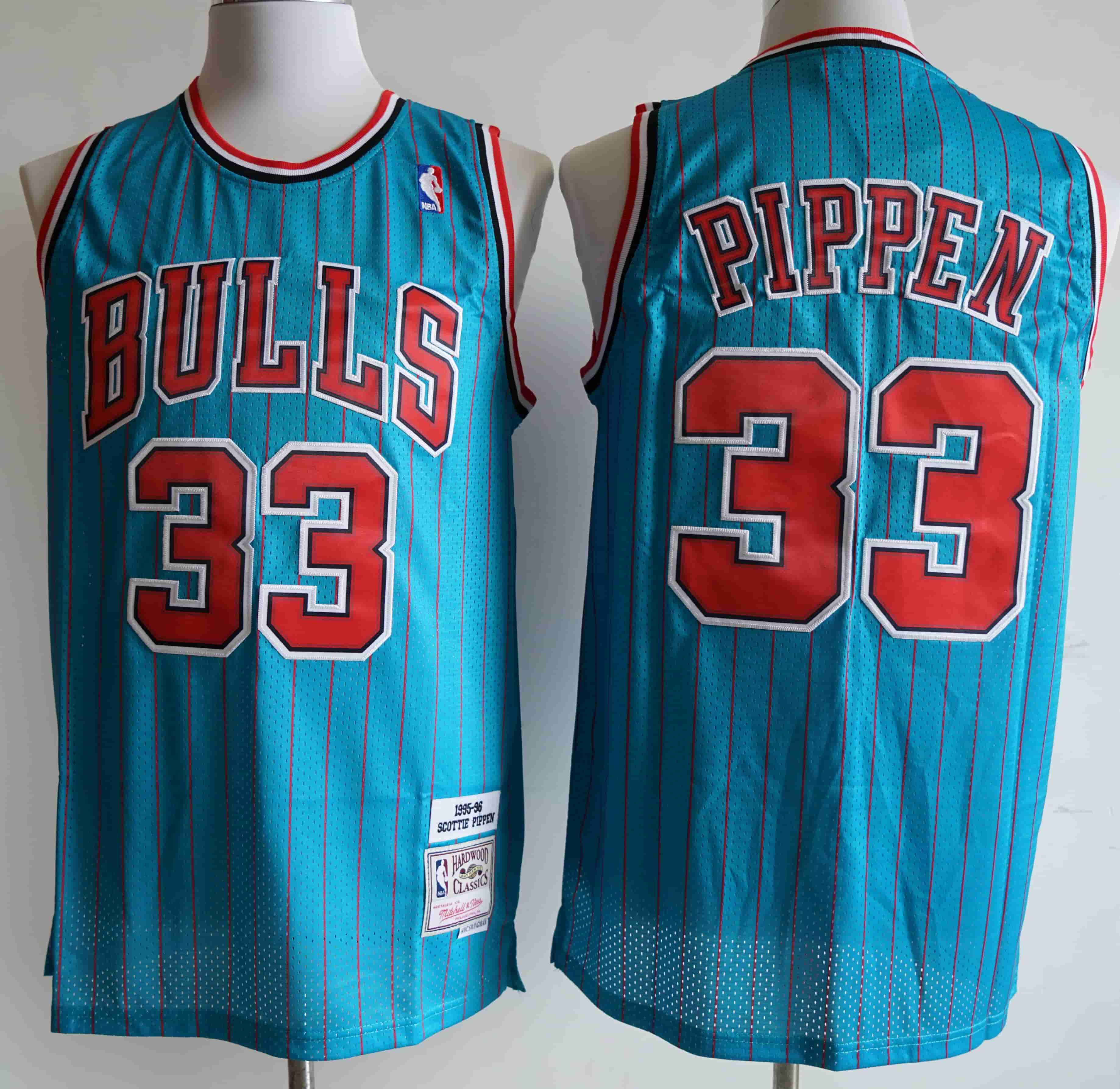 Bulls 33 Scottie Pippen Blue 1995-96 Hardwood Classics Swingman Jersey