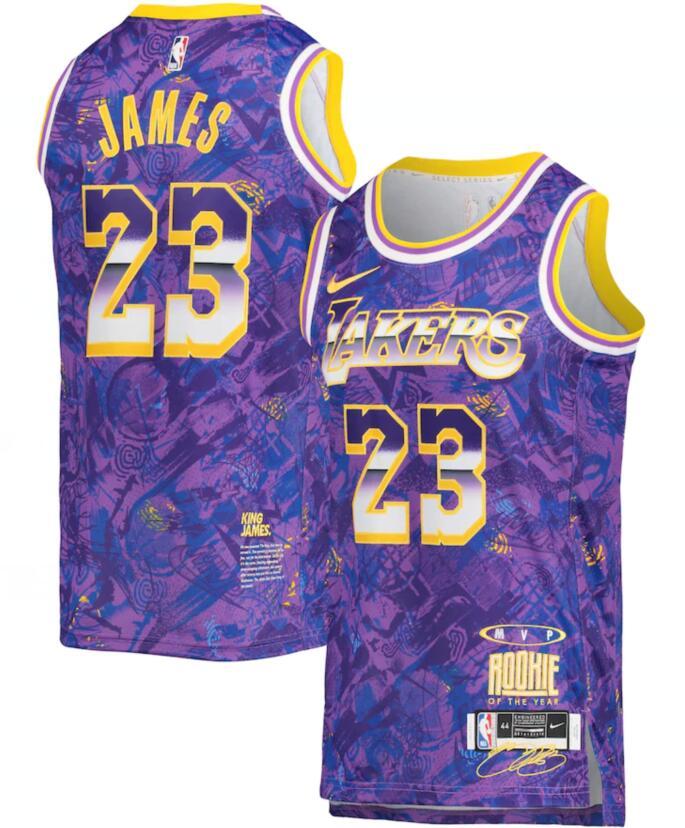 Lakers 23 LeBron James Purple Nike Select Series MVP Swingman Jersey
