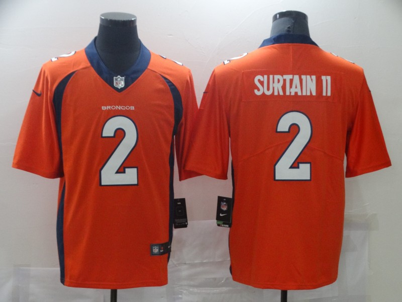 Nike Broncos 2 Patrick Surtain II Orange 2021 Draft Vapor Limited Jersey