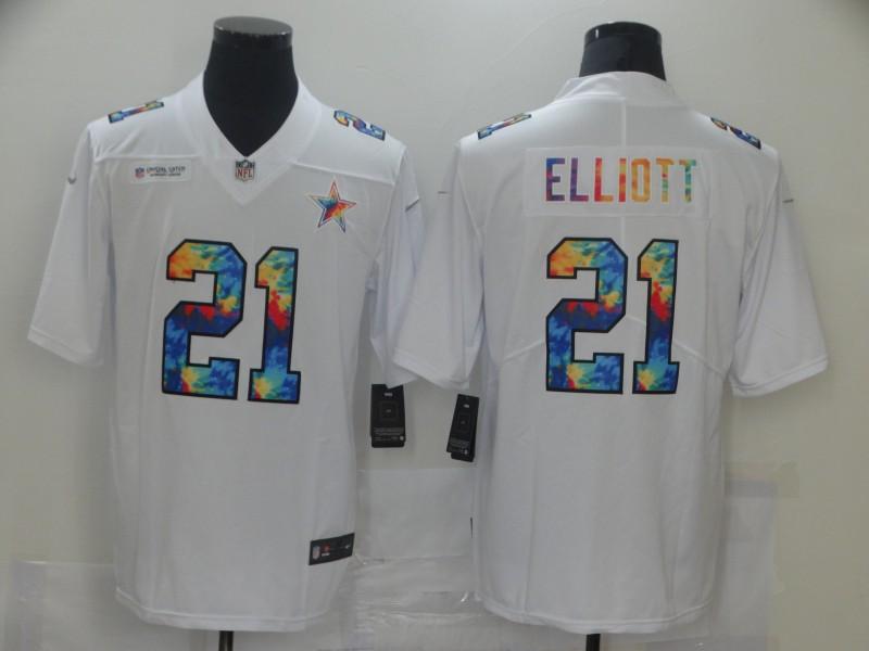 Nike Cowboys 21 Ezekiel Elliott White Vapor Untouchable Rainbow Limited Jersey