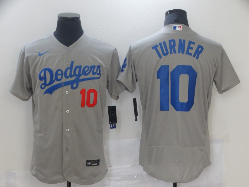 Dodgers 10 Justin Turner Gray 2020 Nike Flexbase Jersey