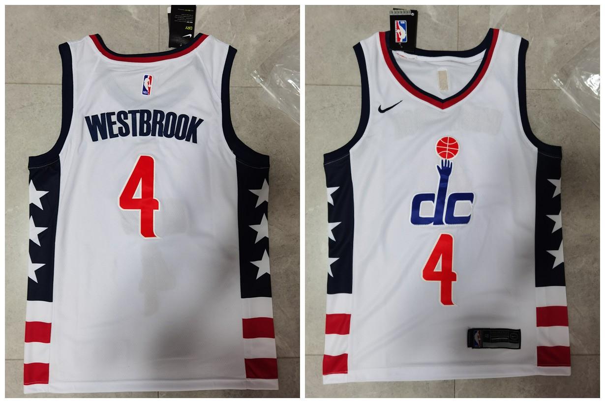 Wizards 4 Russell Westbrook White City Edition Nike Swingman Jersey