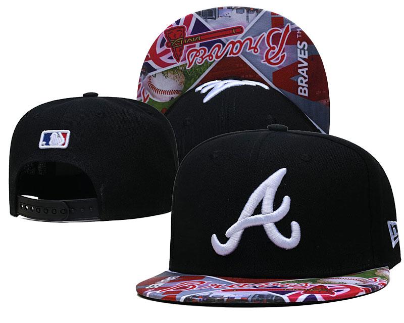 Braves Team Logos Black Adjustable Hat LH