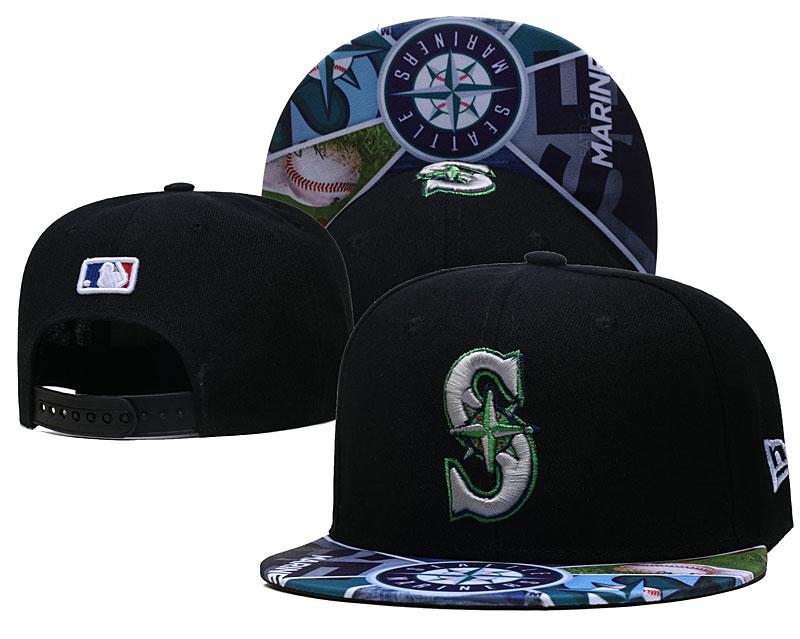 Mariners Team Logos Black Adjustable Hat LH