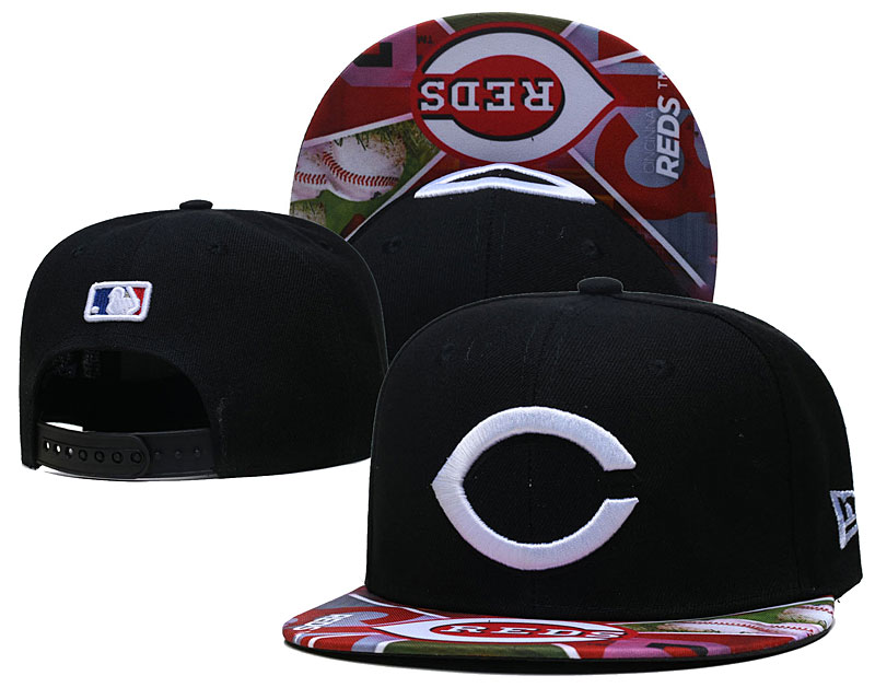Reds Team Logos Black Adjustable Hat LH