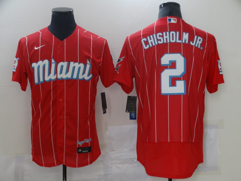 Marlins 2 Jazz Chisholm Jr. Red 2021 City Connect Flexbase Jersey